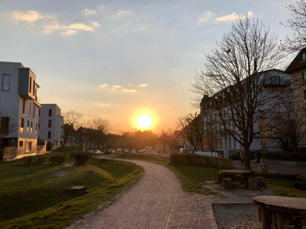 Sonnenuntergang in Freiburg-Wiehre